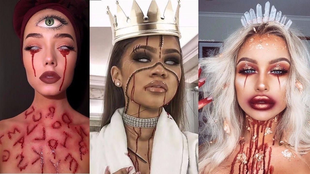 Maquillage d'Halloween pour les femmes - peau craquelée effrayante.