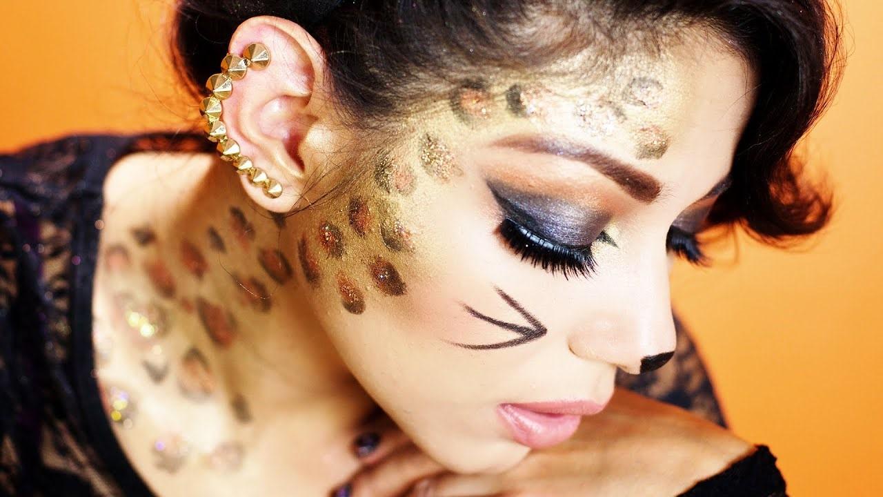 Тuto de maquillage d'Halloween léopard facile.