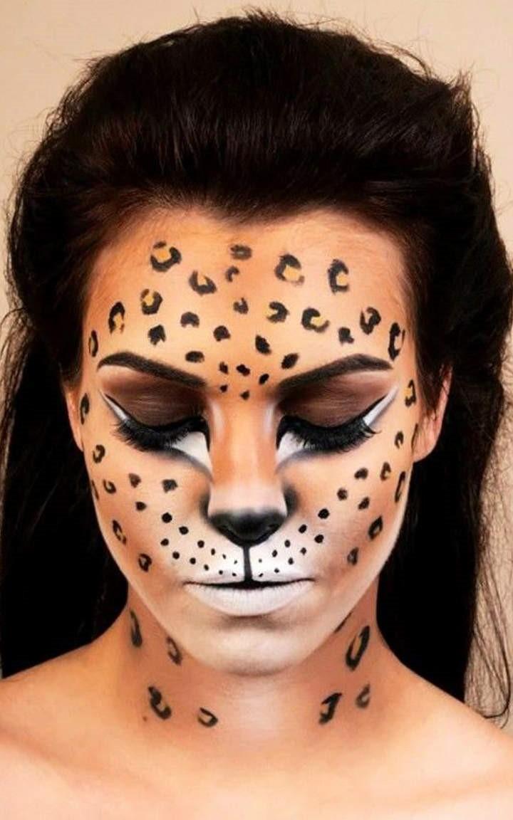 Maquillage d'Halloween léopard joli.