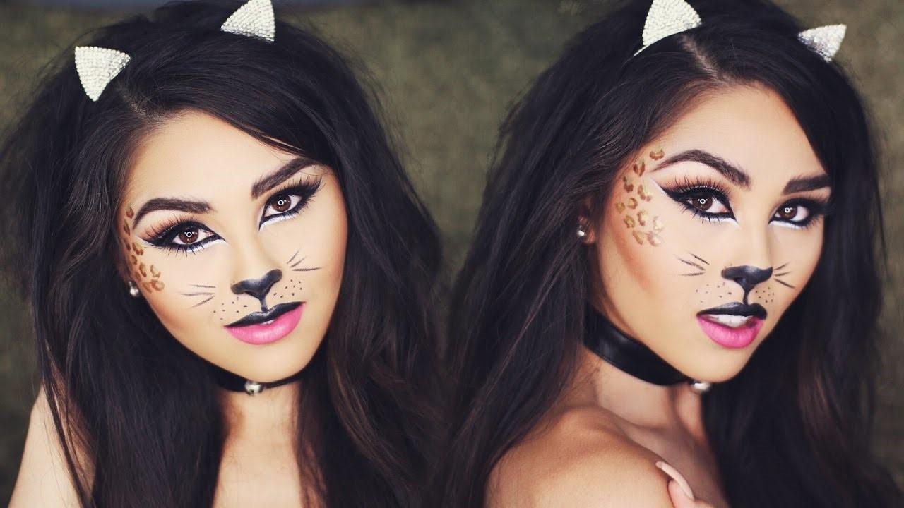 Maquillage d'Halloween léopard.
