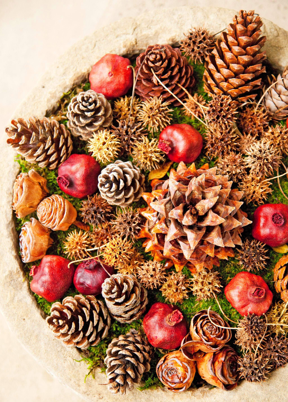 Belle décoration avec des grenades et des pommes de pin.