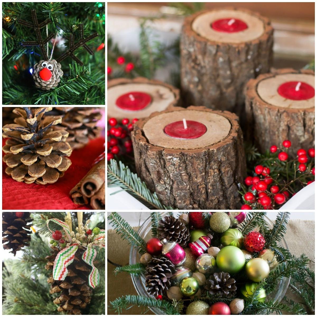 Décoration de Noël naturelle avec des pommes de pin.