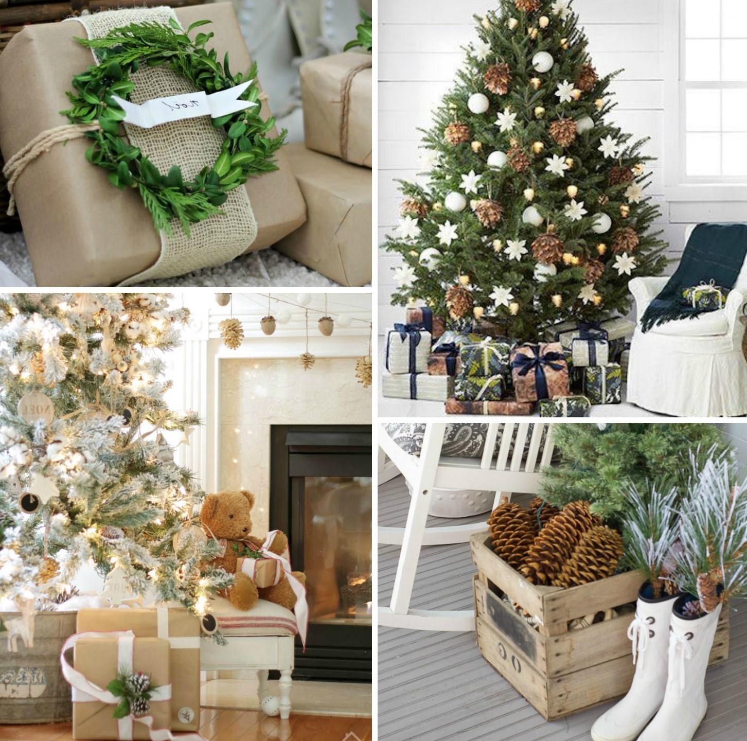 Décoration de Noël naturelle avec des branches à feuilles persistantes et des pommes de pin.