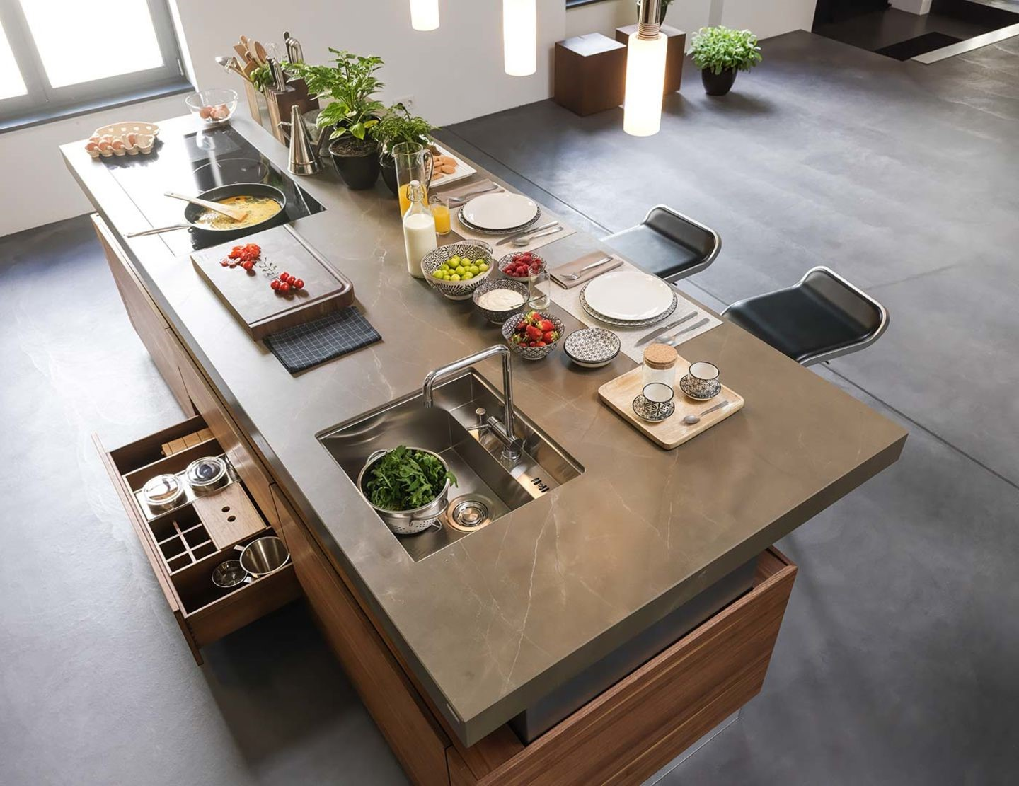 For countertops, the established standard is for the top of the countertop to fall about 36 inches above the floor.