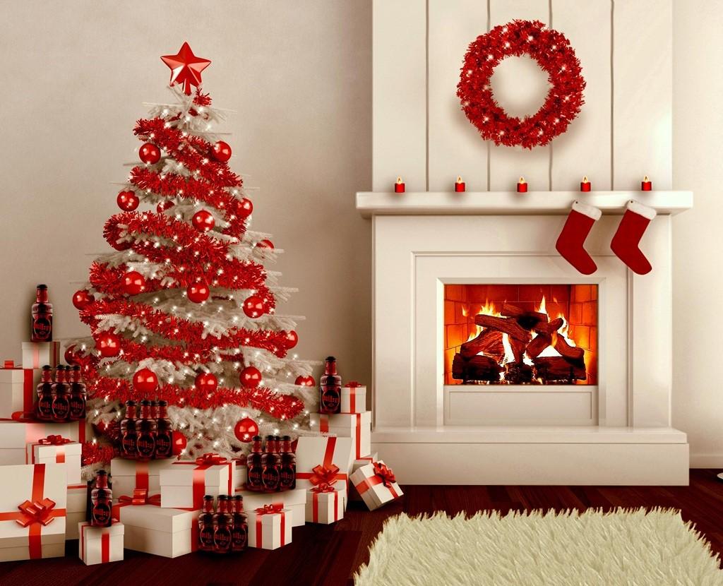 Décoration élégante en blanc et rouge.