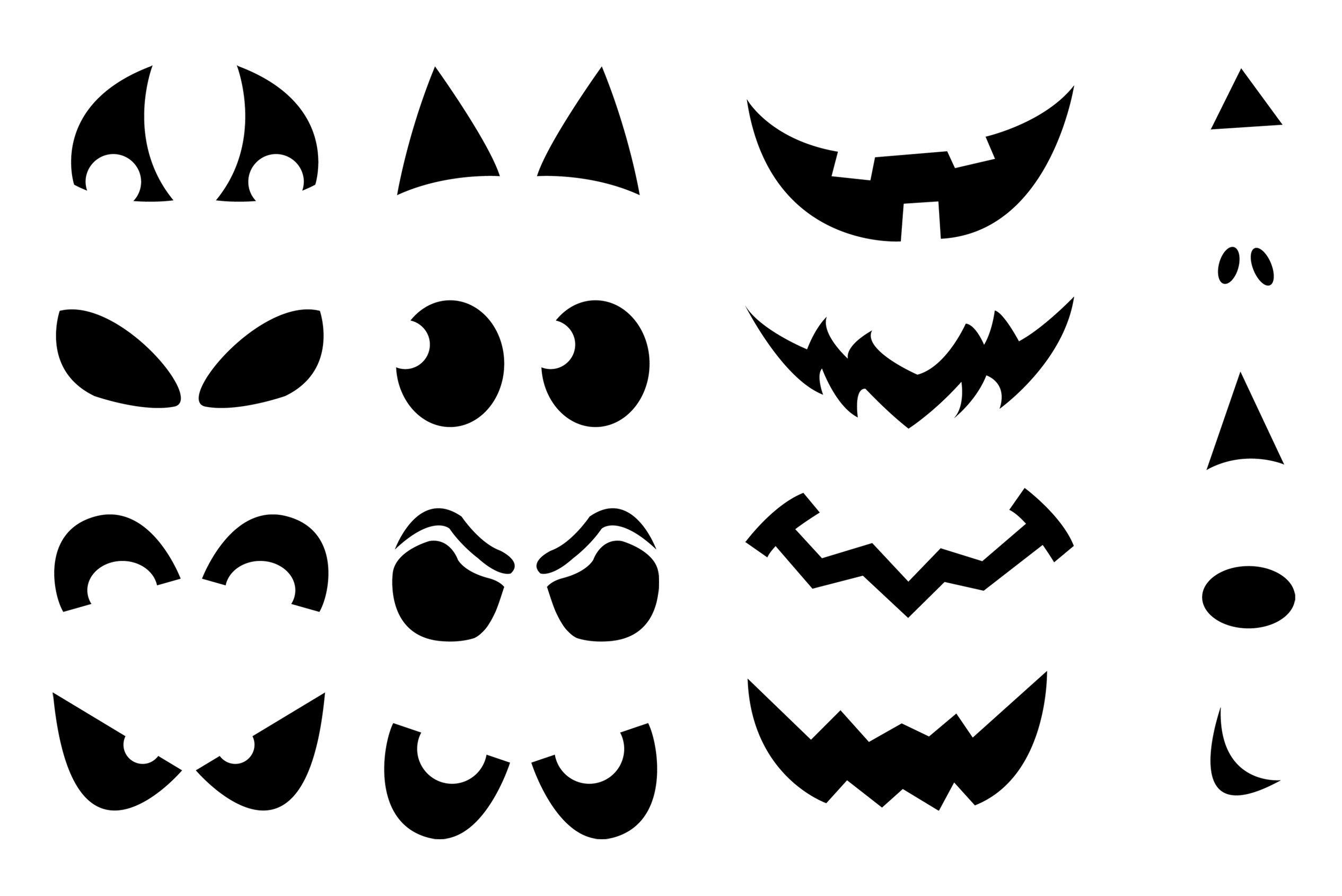 Yeux et bouches à imprimer pour décorer les fantômes gratuites