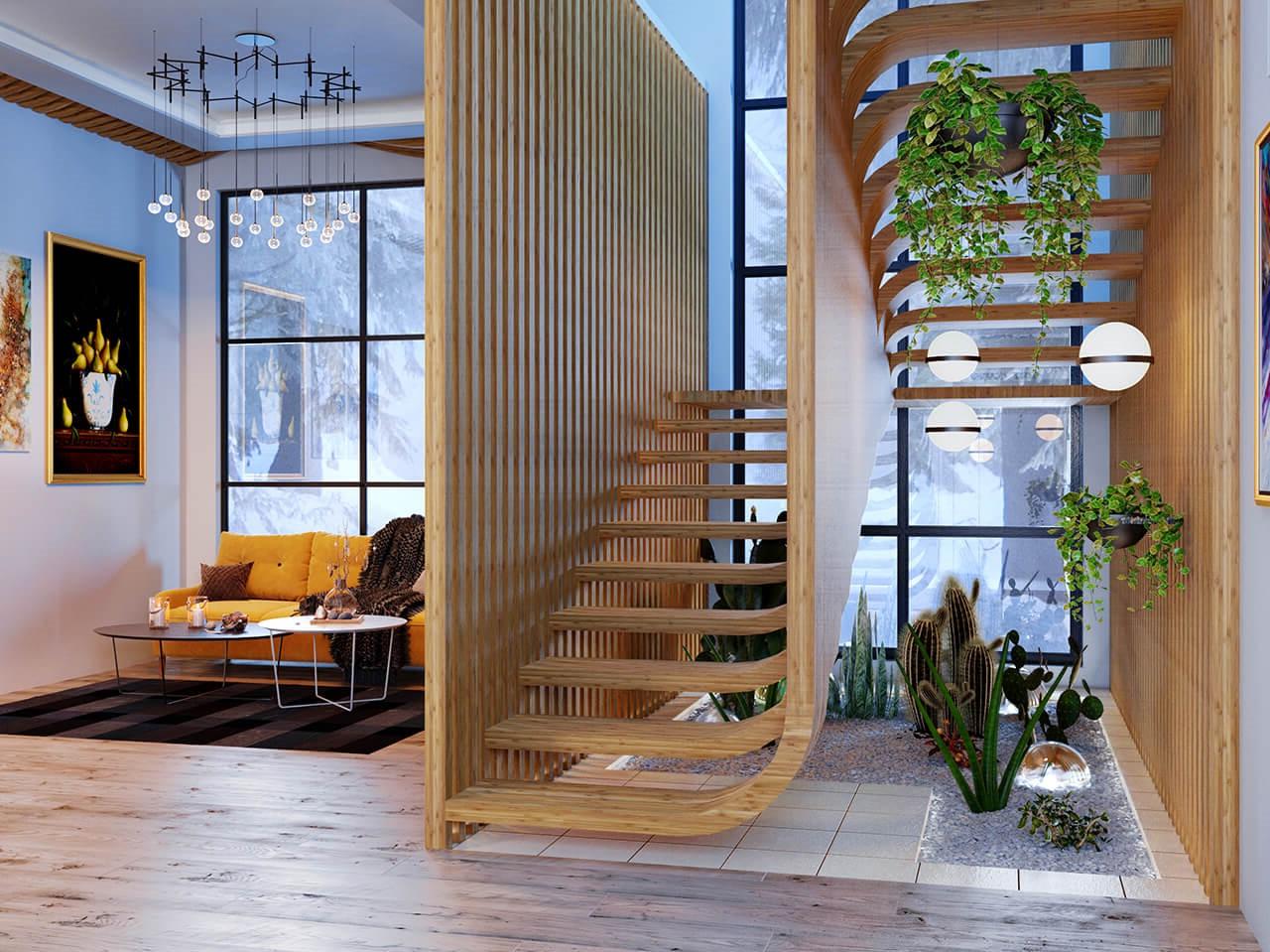 Les plantes peuvent donner vie à n'importe quel espace, même dans un escalier peu éclairé par la lumière naturelle.