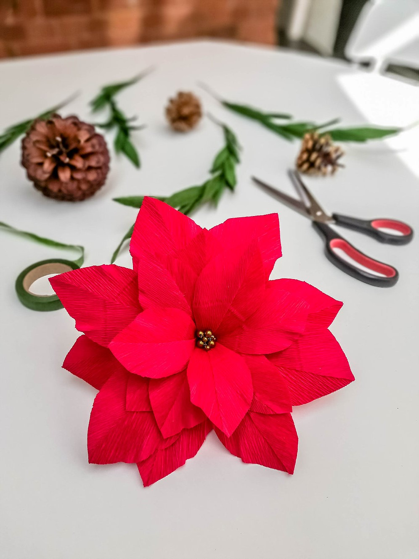 Activité manuelle de Noël: Poinsettias en papier.