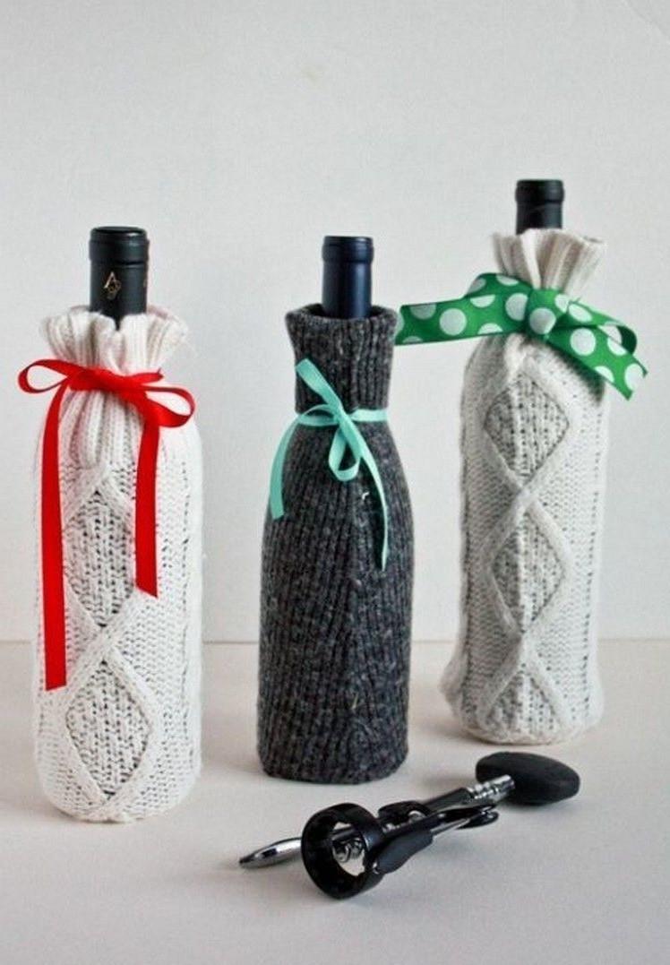 """""""Pulls"""" fait à la main pour les bouteilles."""