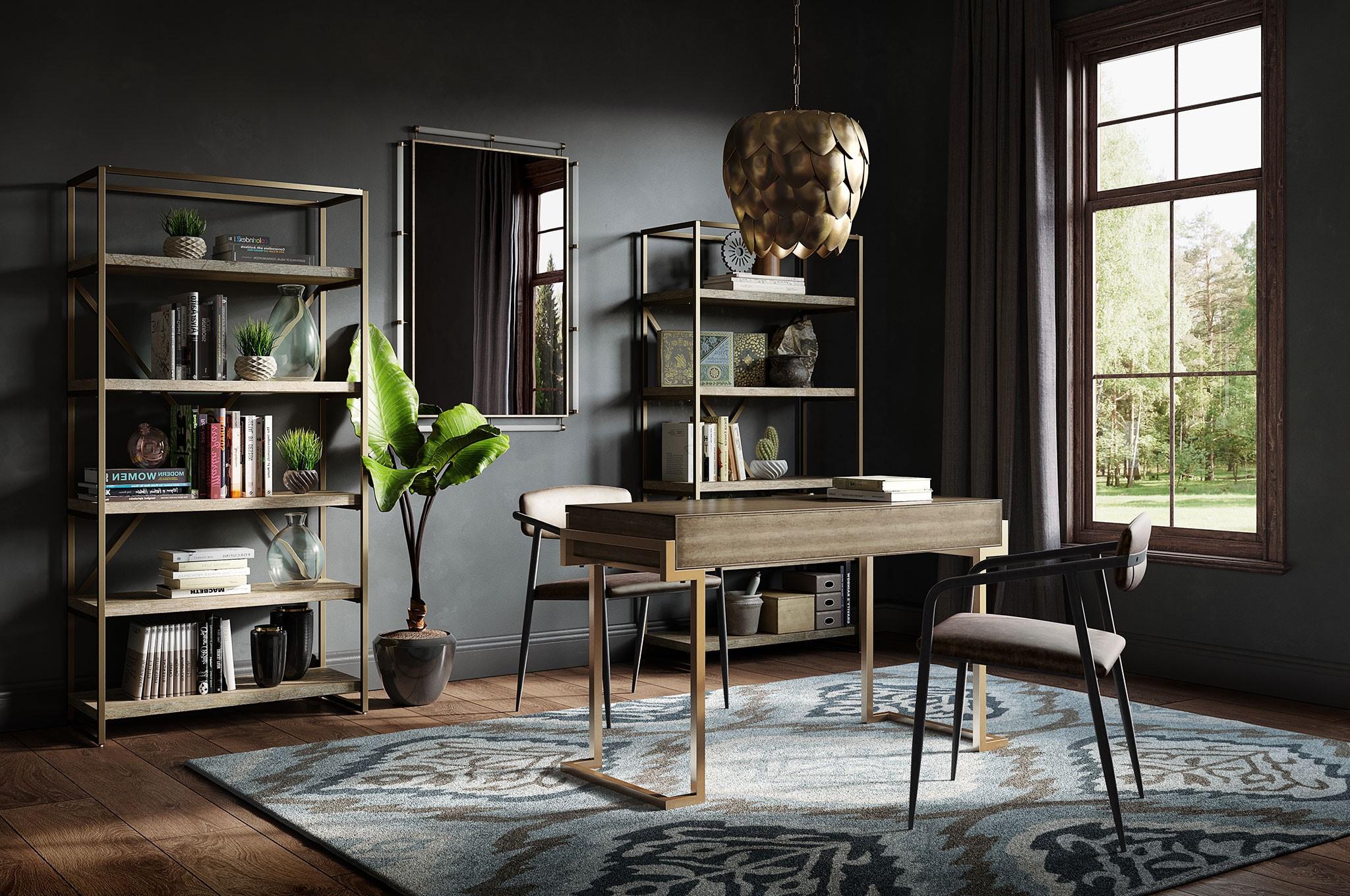 Ajoutez un petit tapis pour délimiter clairement le bureau du reste de votre salon.