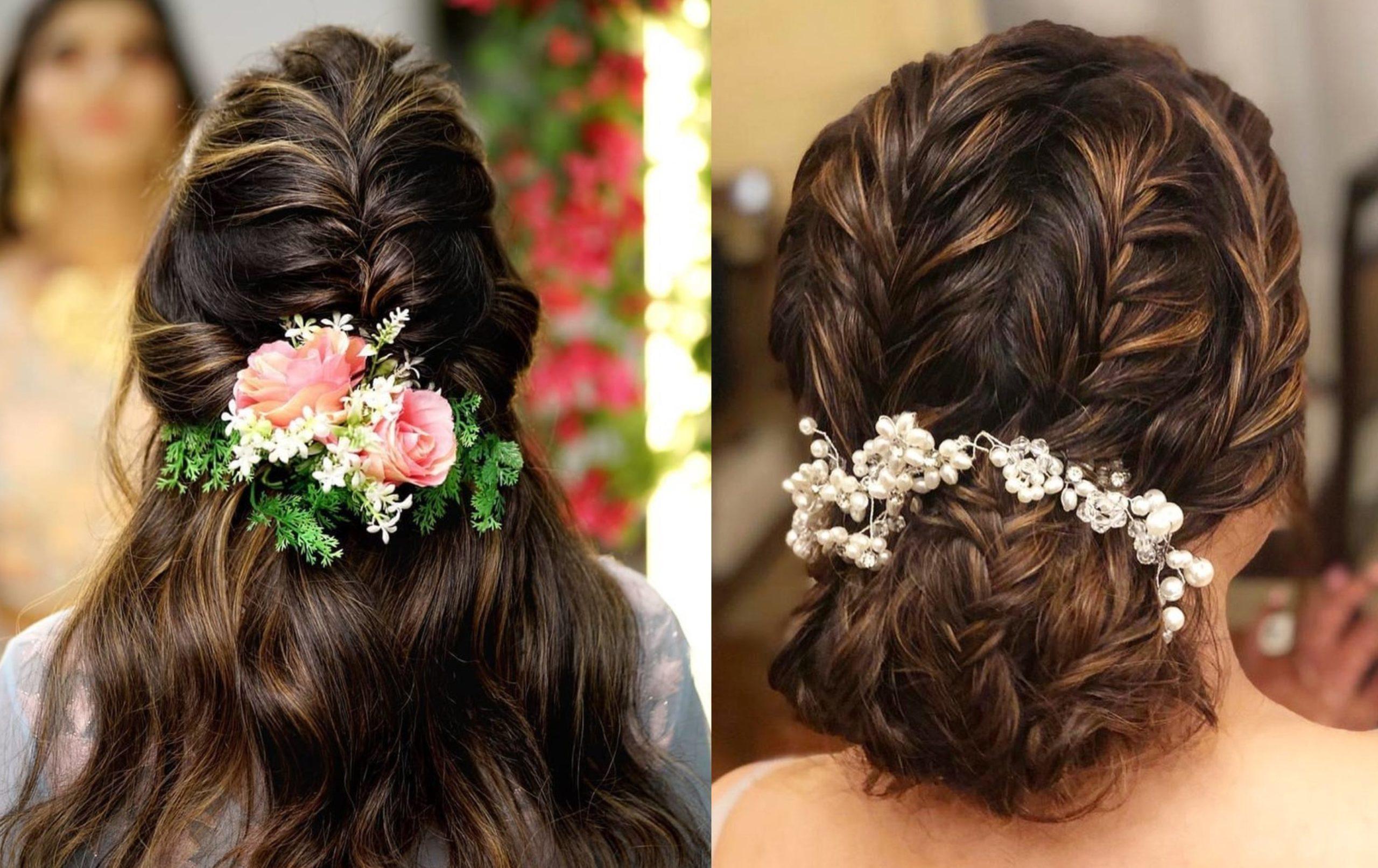 Coiffures de mariage pour cheveux longs: choisissez des accessoires de fleurs.