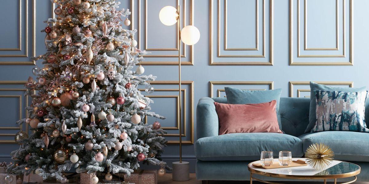 Déco de Noël en bleu et or.