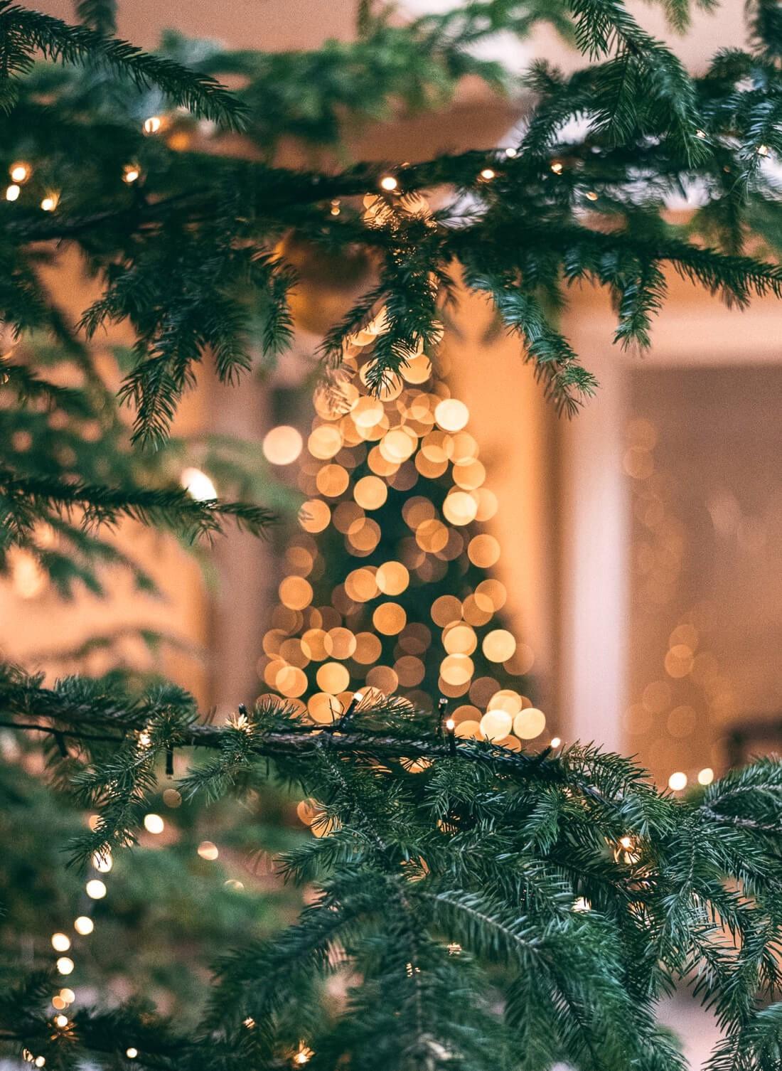Décoration de sapin classique avec des lumières de Noël.