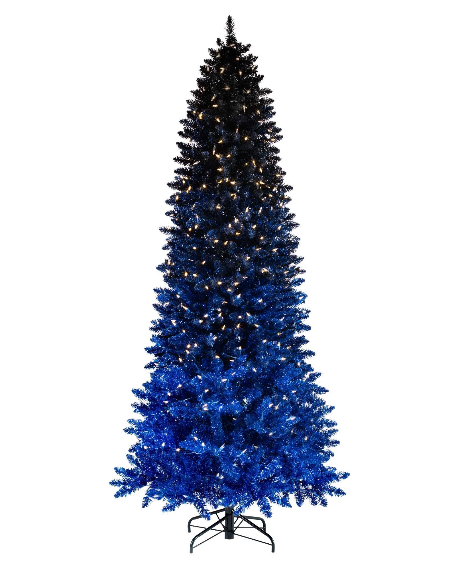 Bel arbre de Noël ombré dans les tons bleus.