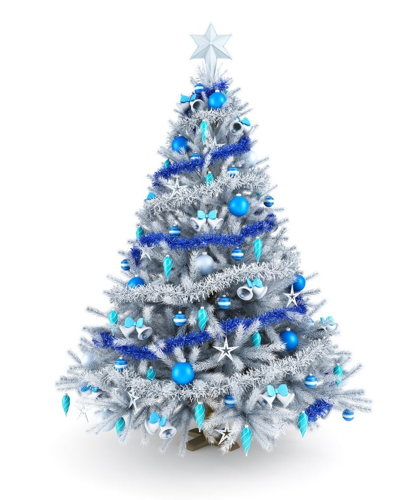 Arbre de Noël dans différentes nuances de bleu et d'argent.