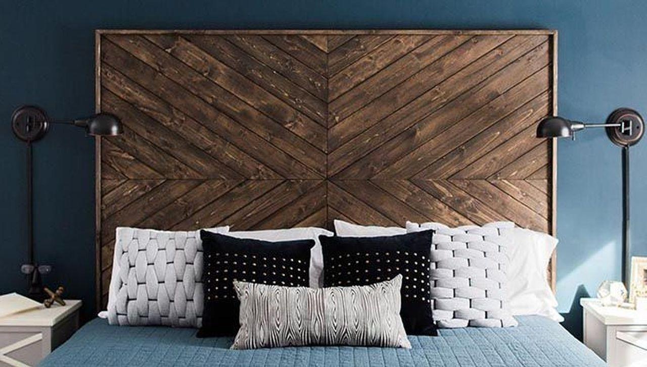 Tête de lit palette fraîche et moderne.