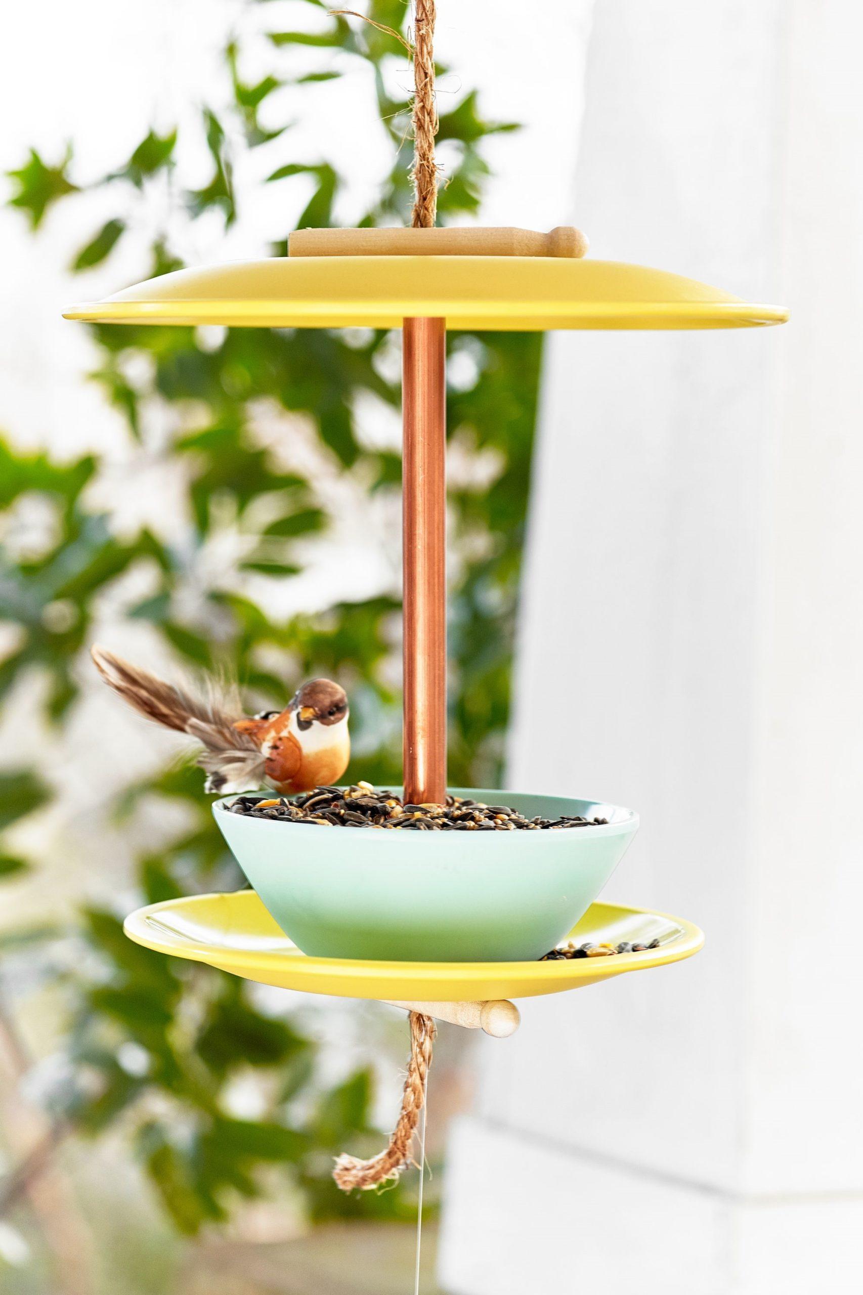 Fabriquez une mangeoire à oiseaux avec de la vaisselle non utilisée.