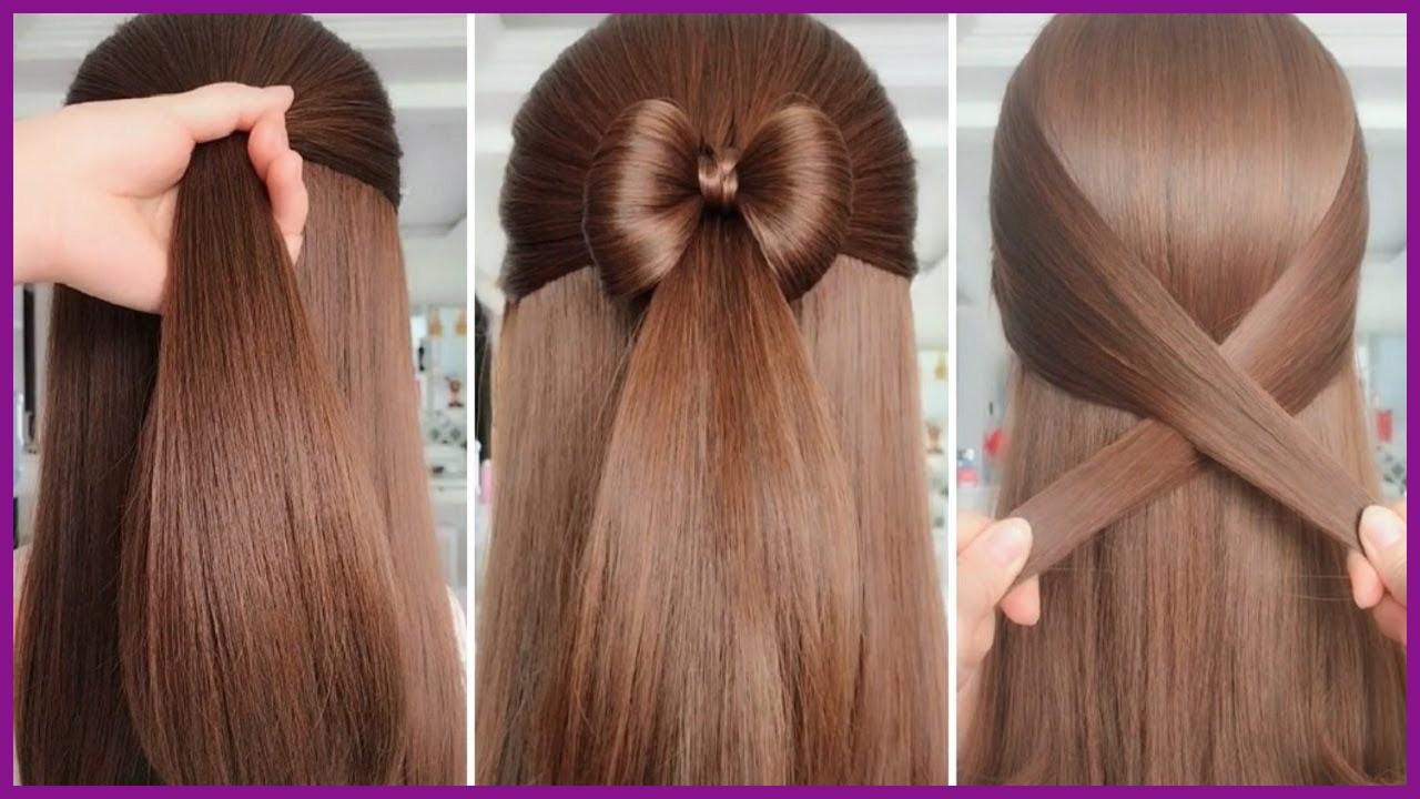 Coiffures simples pour les cheveux longs: demi queue de cheval avec un accent amusant.