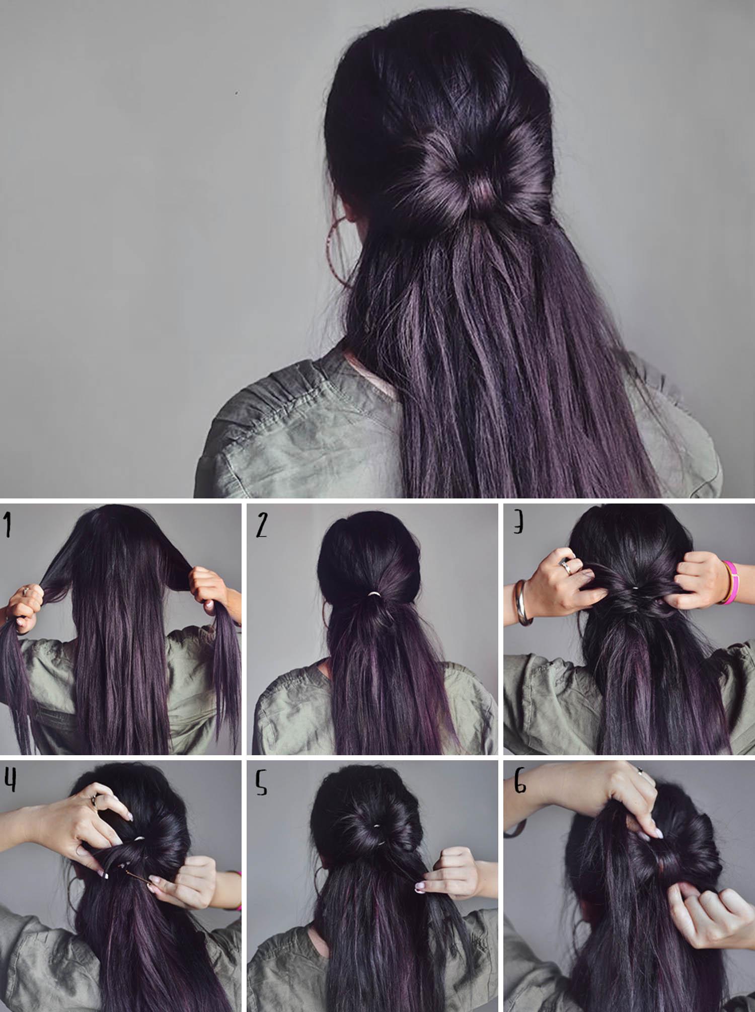 Coiffure simple pour kes cheveux longs.