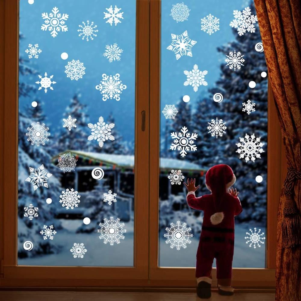 Déco de fenêtre gel flocon.