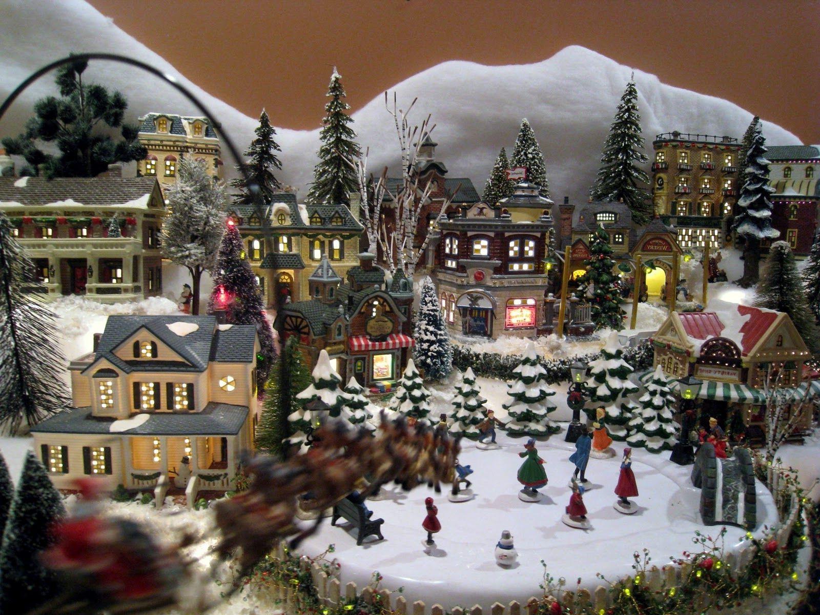Village de Noël lumineux et animé.