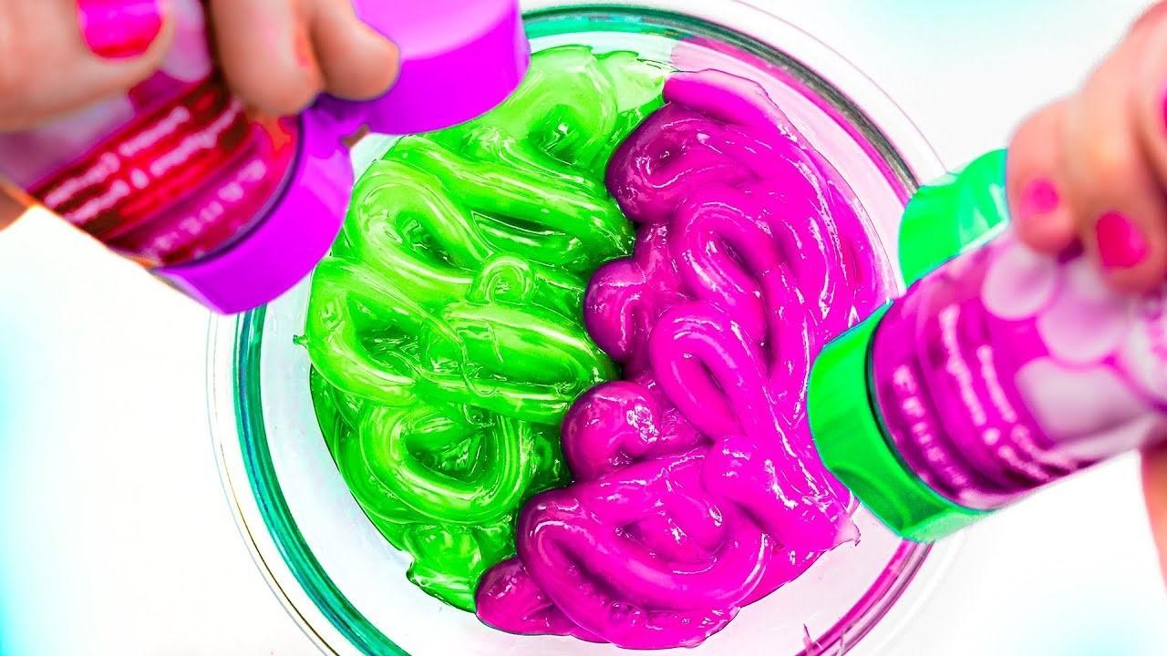Tuto d'activité manuelle: colorez le slime à votre goût.