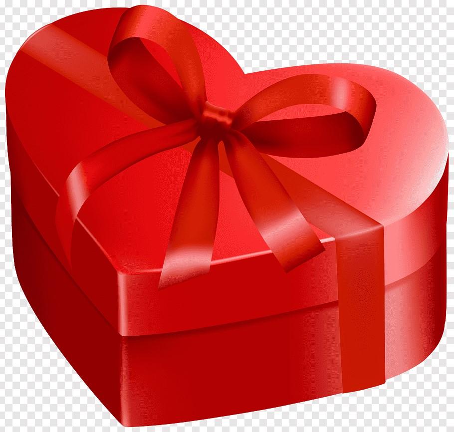 Boîte cadeau en forme de coeur.