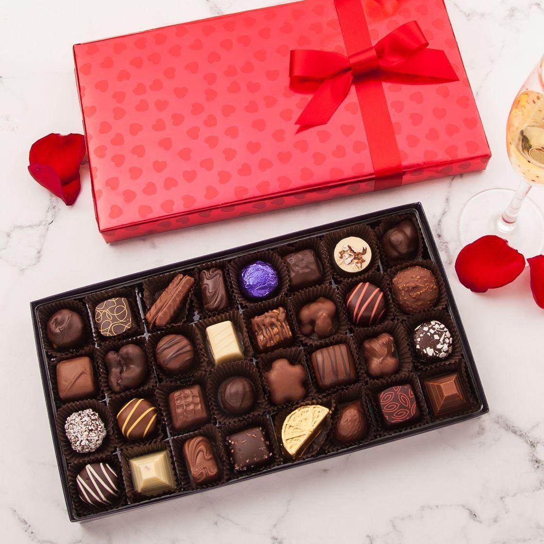 Bonbons au chocolat comme cadeau de Saint-Valentin.