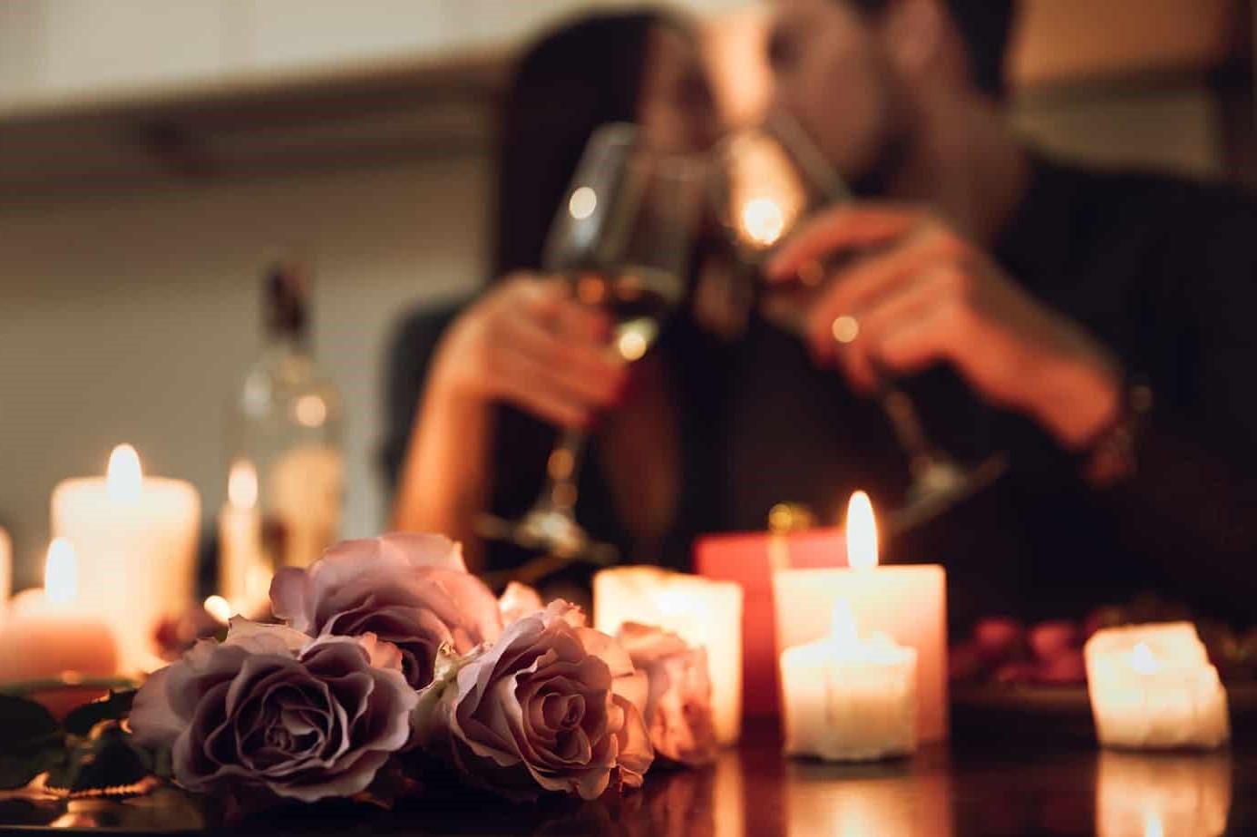Atmosphère romantique à la maison.