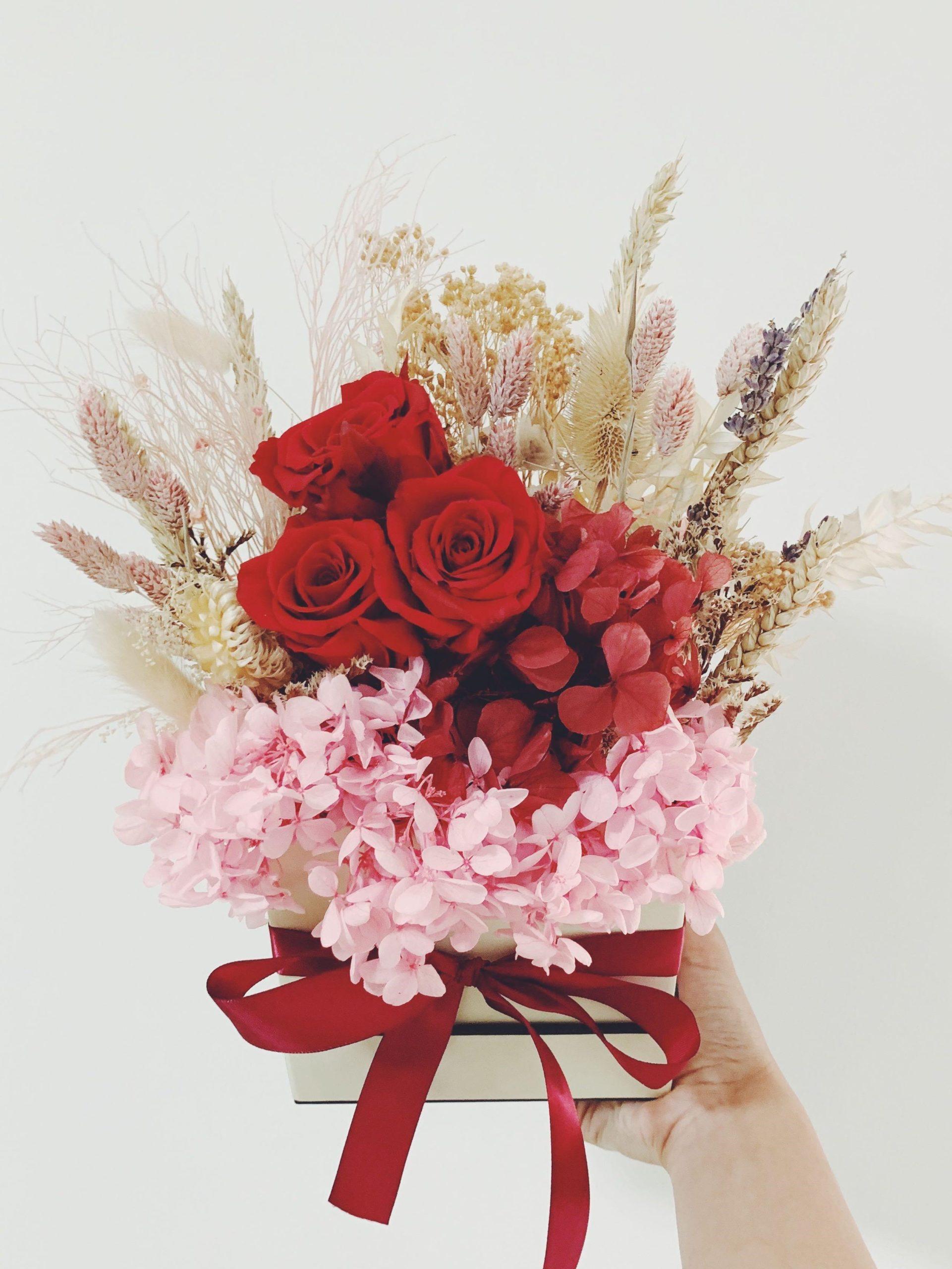 Élégante boîte de fleurs.