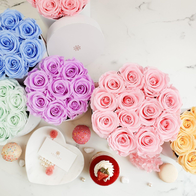 Roses multicolores.