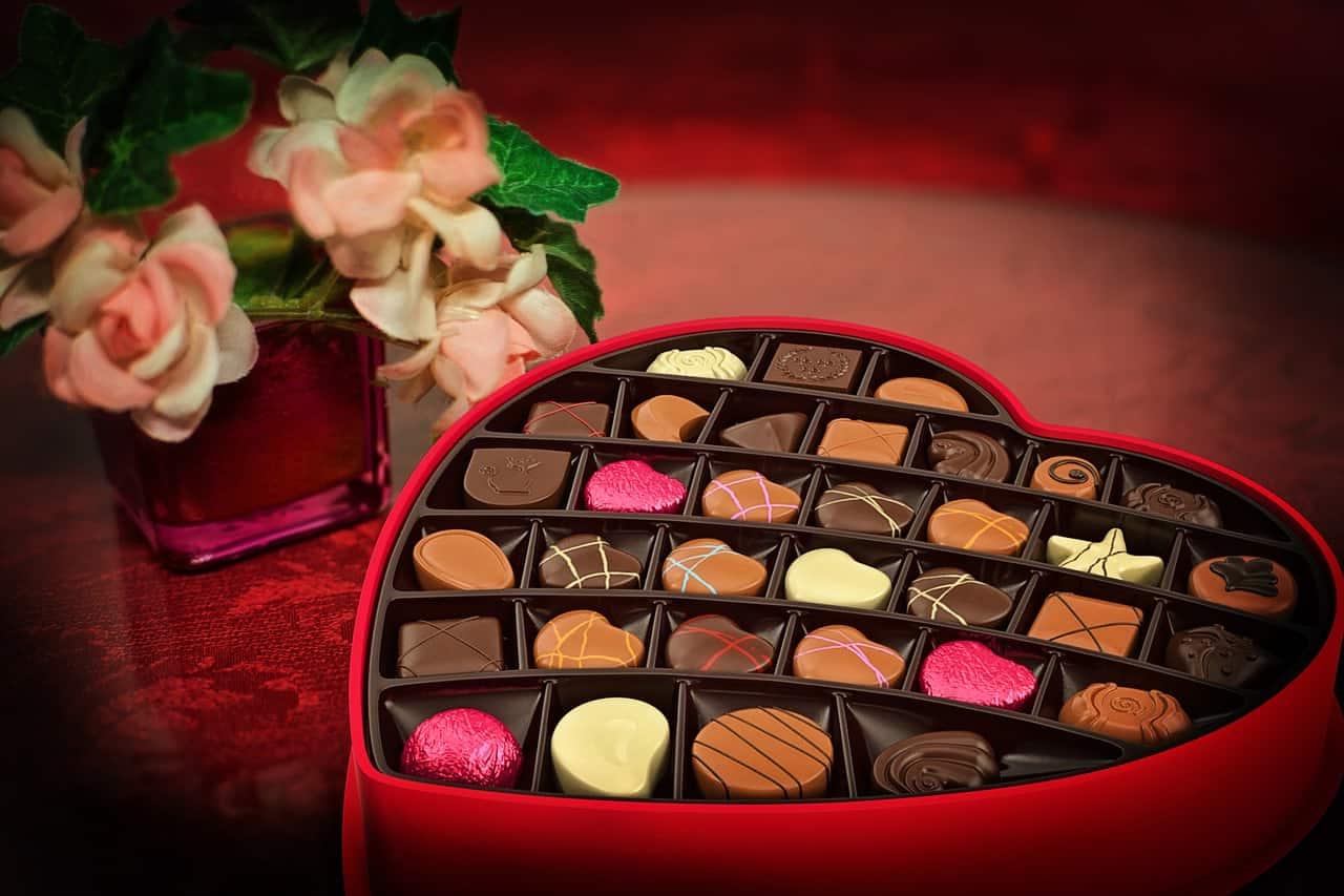Chocolats dans un box de Saint Valentin