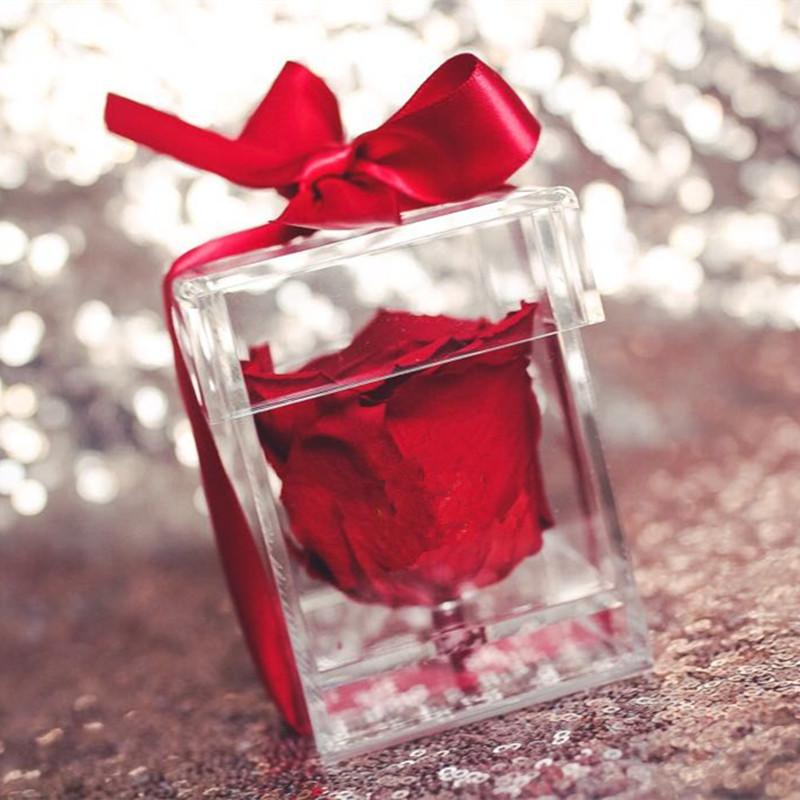 Rose rouge dans une boîte en verre pour la Saint Valentin