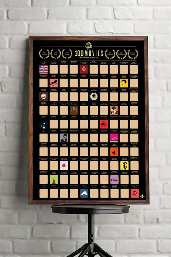 Affiche de 100 films à gratter.