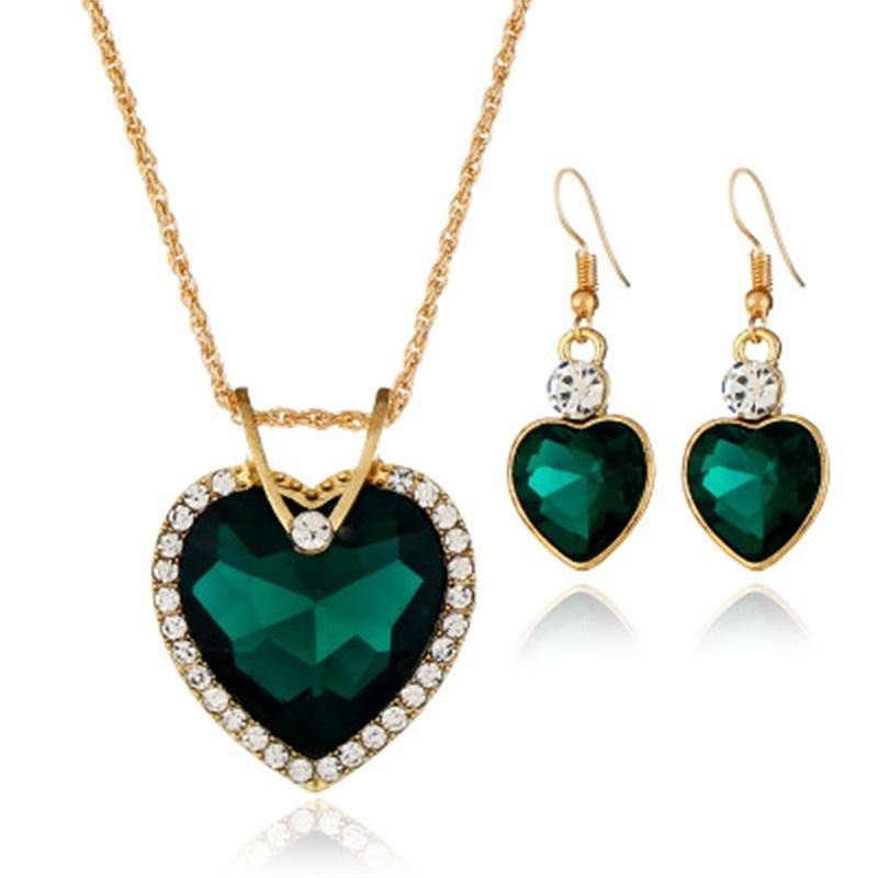Ensemble de bijoux émeraude bijoux Saint Valentin