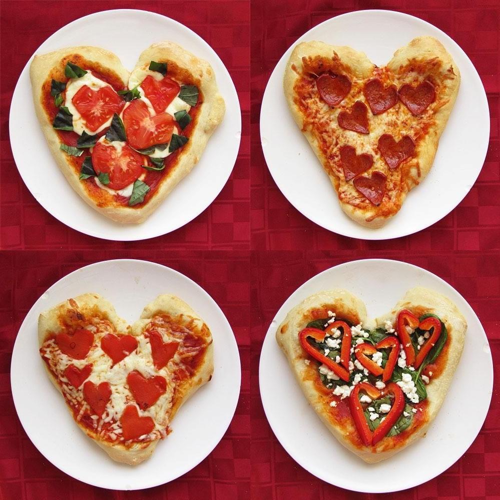 Pizzas en forme de coeur.