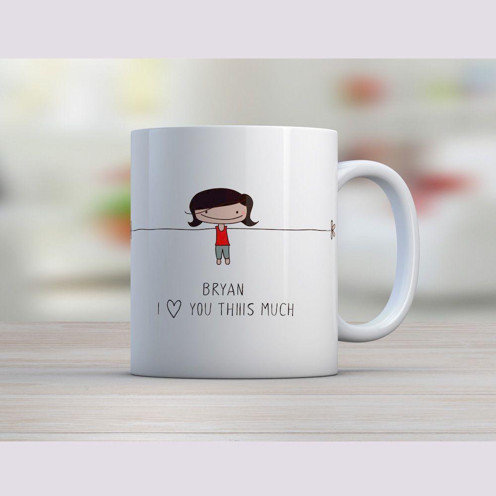 Mug personnalisée pour la Saint Valentin avec le nom de votre bien-aimé.