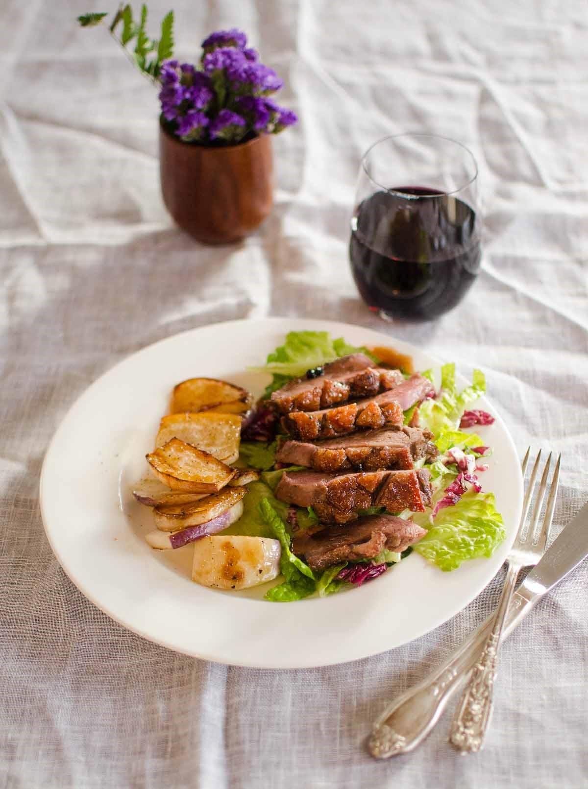 Repas romantique facile: filet de porc aux pommes de terre.