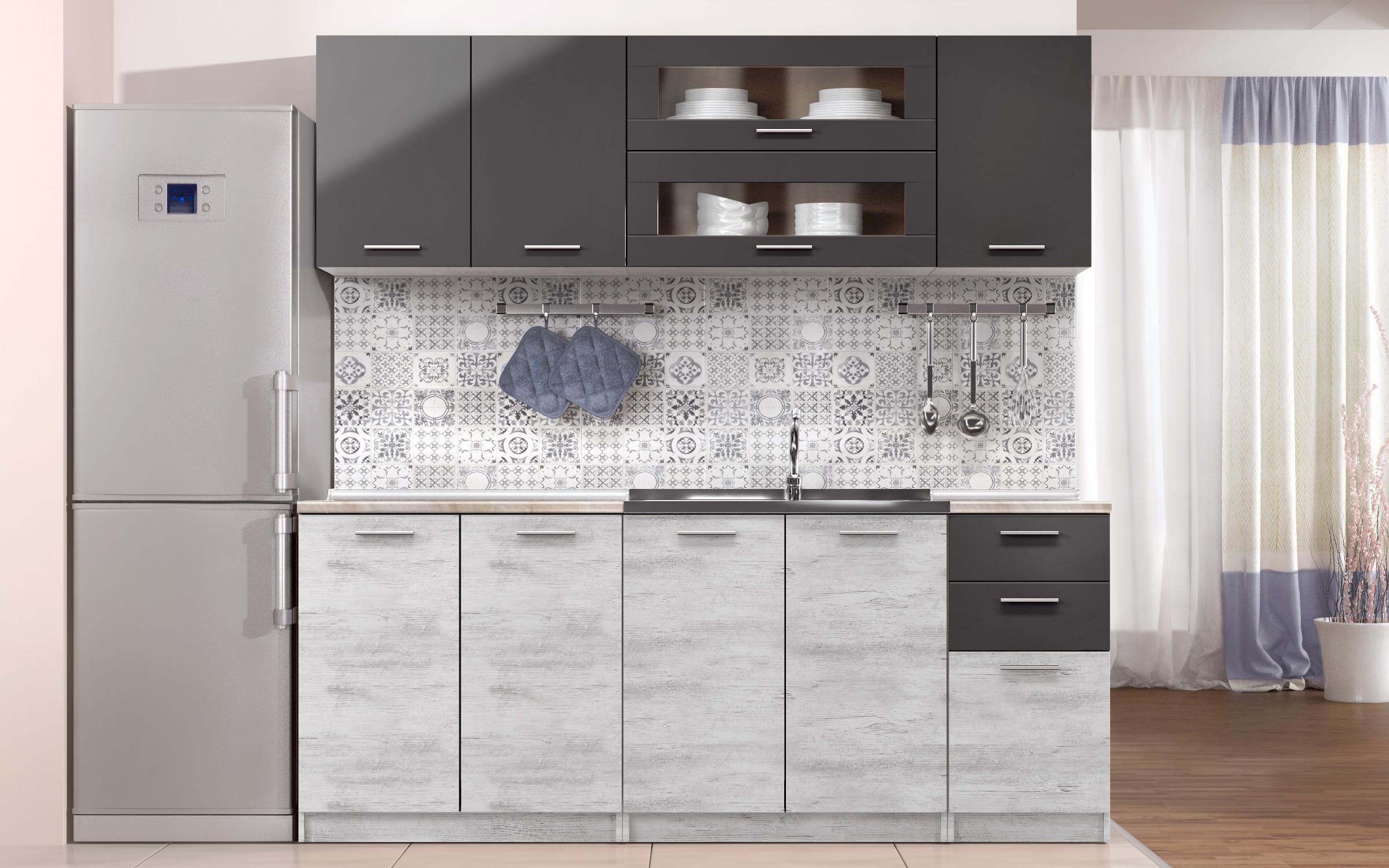 Petite cuisine grise en plan de travail gris