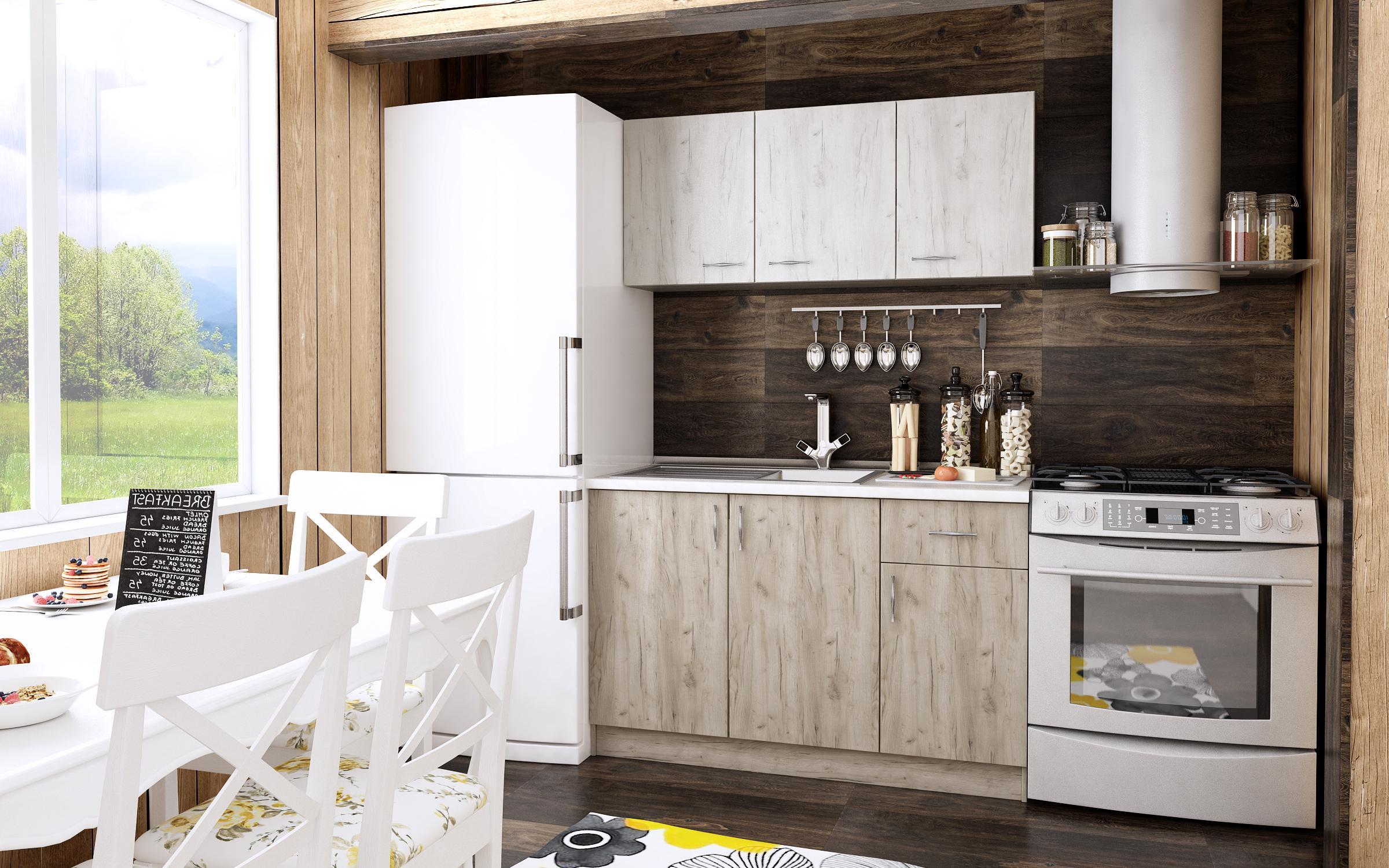 Grande cuisine blanche et plan de menuiserie gris