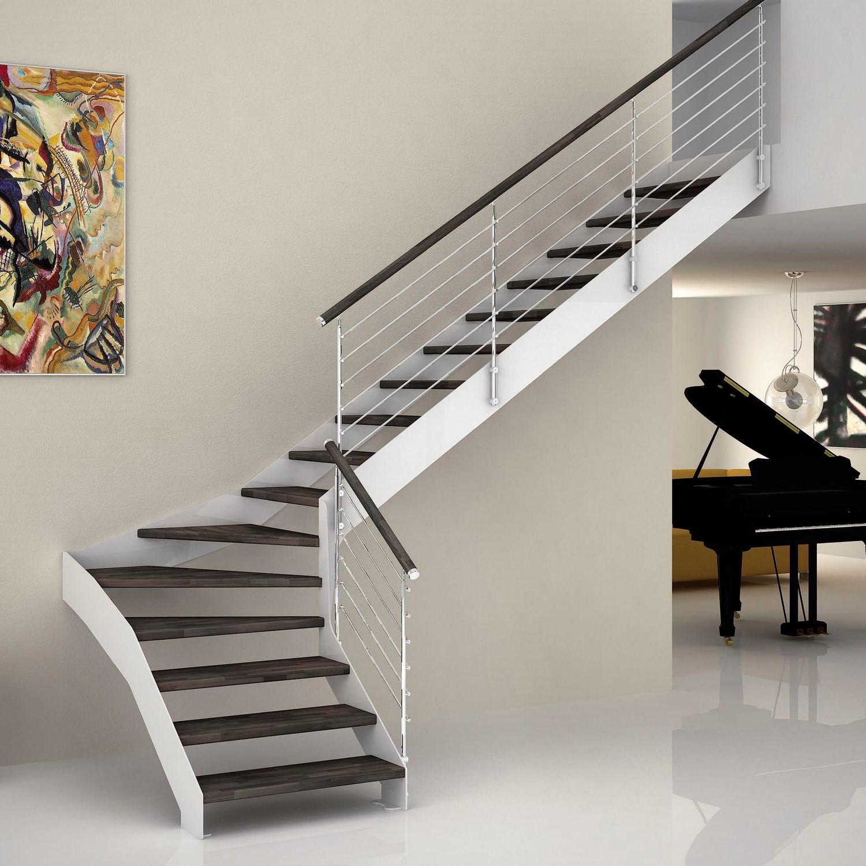 Escalier quart tournant bicolore.