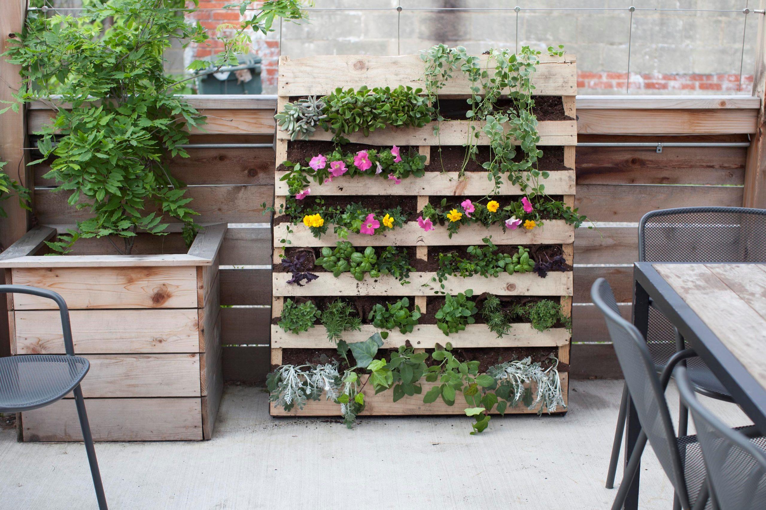 Jardin en palettes bricolage.