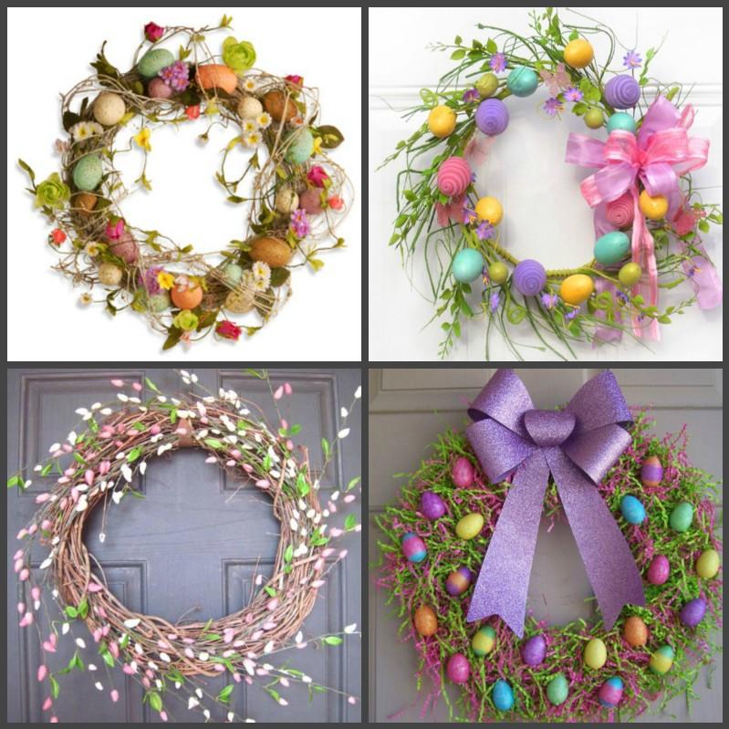 Couronne de Pâques faite par vous-même - différentes idées de fleurs et oeufs