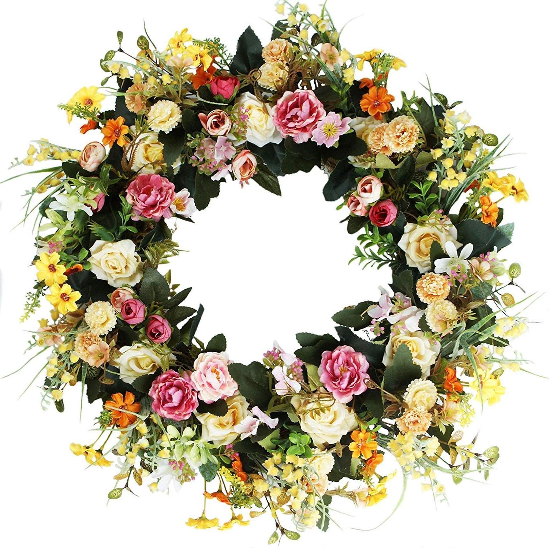 Couronne de Pâques à faire soi-même avec des fleurs de printemps