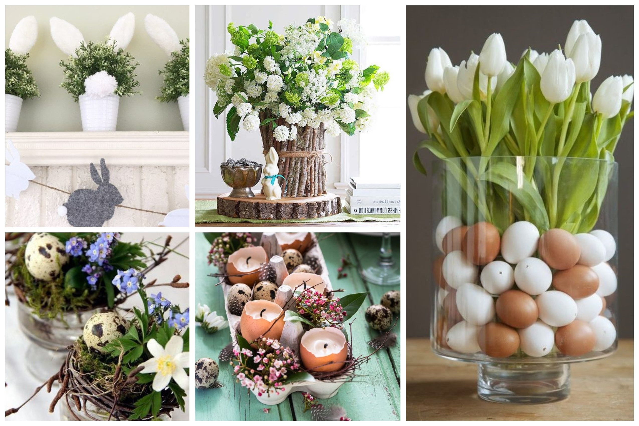 Déco de Pâques avec des fleurs.
