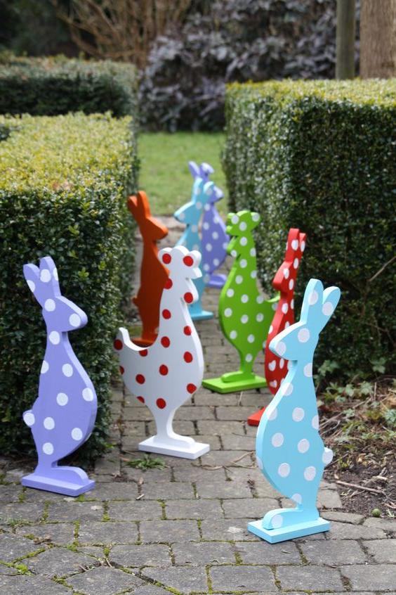Décoration de lapin de Pâques pour l'extérieur