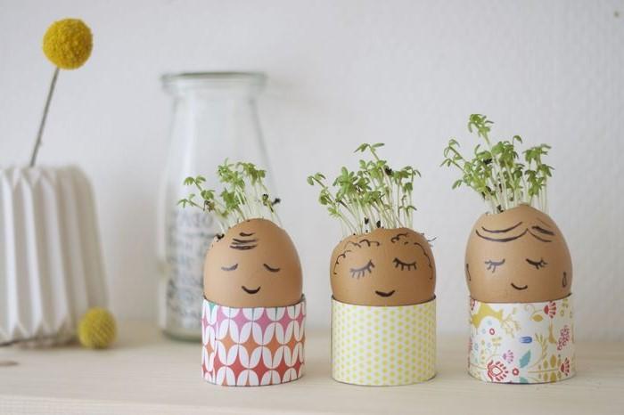 Mini jardinière en coquille d'oeuf.