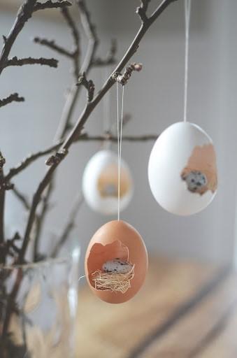 Nids suspendus comme décoration de Pâques.