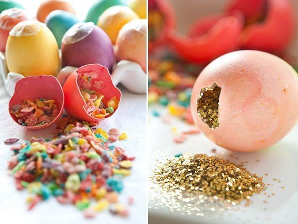 Décoration de Pâques avec des oeufs vidés.