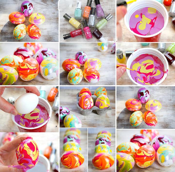 Décoration de Pâques - décoration d'oeufs avec du vernis à ongles